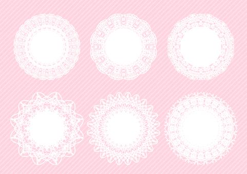 Round lace frame set pink background