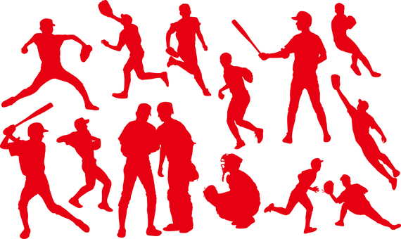 Baseball player _ silhouette _ set _ 02 _ red
