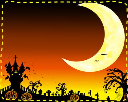 Halloween crescent landscape orange background