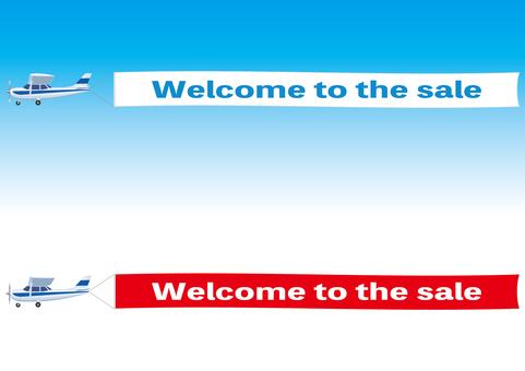 広告・宣伝 横断幕を引く軽飛行機