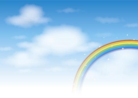 Blue sky and rainbow (sideways)