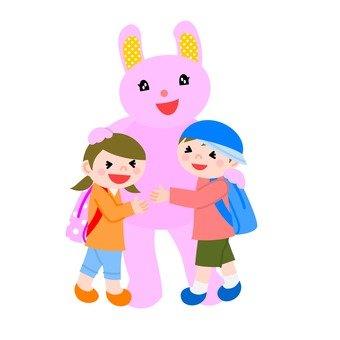 Rabbit costume and children