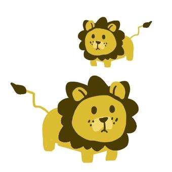 Lion parent and child