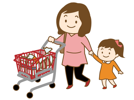 Women and children shopping