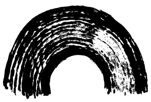 Calligraphy Half circular arc writing brush illustration