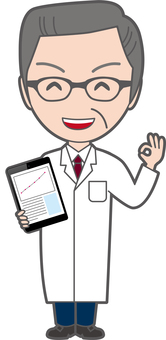 Senior doctor who has tablet and has OK
