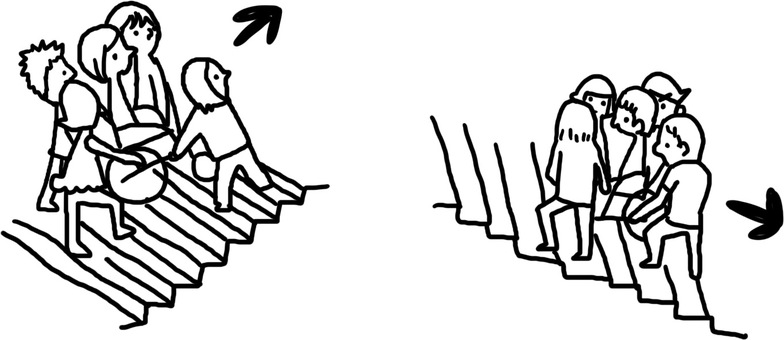 Illustration of carrying a wheelchair together