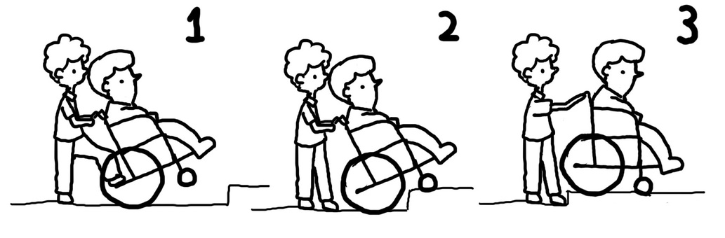 Illustration of going up a step in a wheelchair