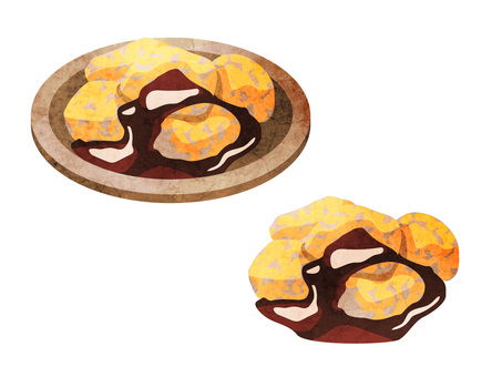 Food _ Japanese-style confectionery _ Warabimochi _ watercolor