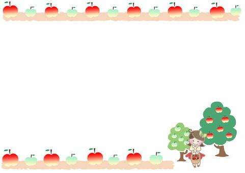 Girls frame of apple field