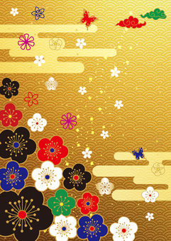 Plum _ and handle _ gold foil _ 縦 background
