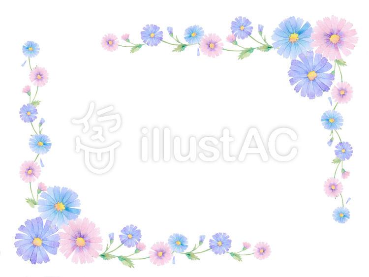 野花飾り枠 ★0425-Fのイラスト