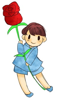 A boy with flowers 2