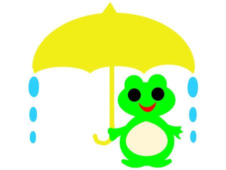 Yellow umbrella, cute frog