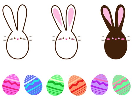 Easter icon set of rabbits and eggs