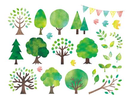 水彩の木などのセット