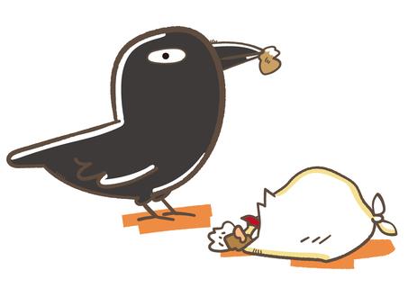 Illustration of crows fishing garbage