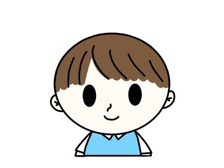 앞을 향하는 푸른 옷을 입은 소년의 일러스트 05