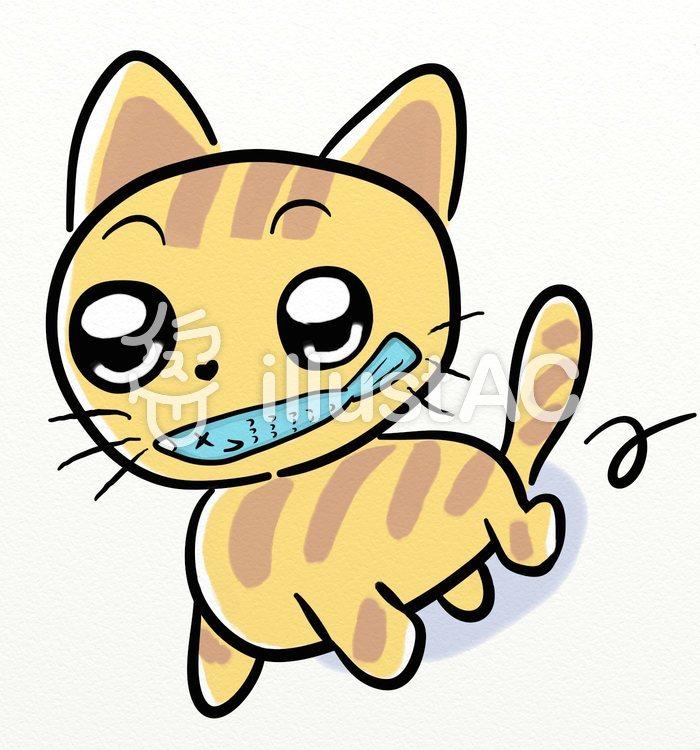 逃走中のお魚くわえたドラ猫のイラスト