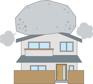 바위가 타고있는 주택