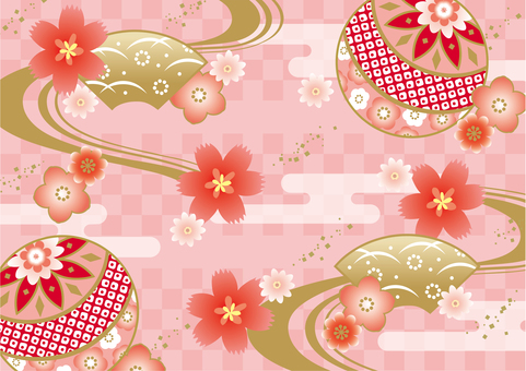 Kimono traditional Japanese pattern pink