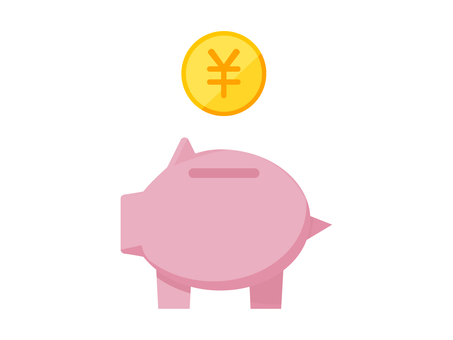 Simple pig money box flat design
