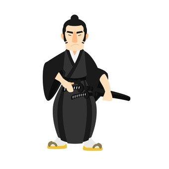 Samurai, whole body, black