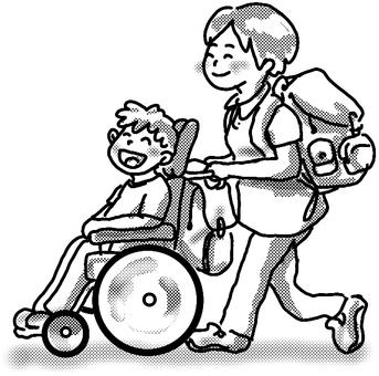 Wheelchair walk summer black and white
