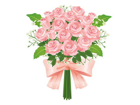 Pink roses wedding bouquet / bouquet 01