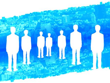 Digital world and multiple businessmen behind