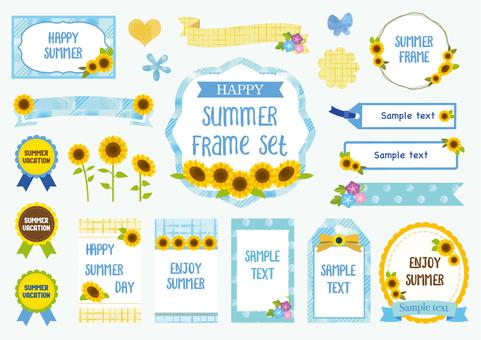 Summer flowers watercolor frame material set