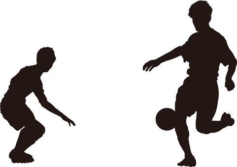 Football silhouette match up