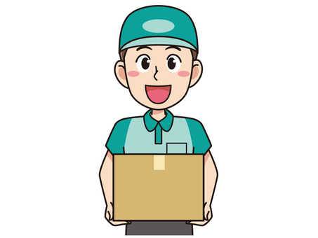 Delivery man male with cardboard