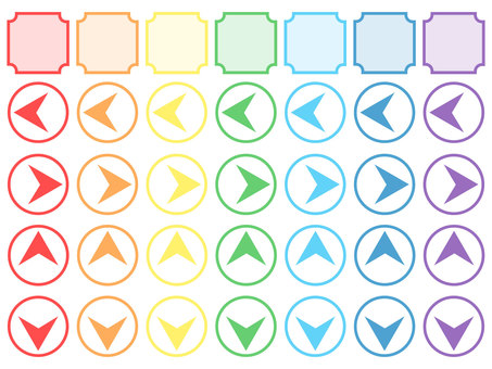 Rainbow colored arrow and frame set