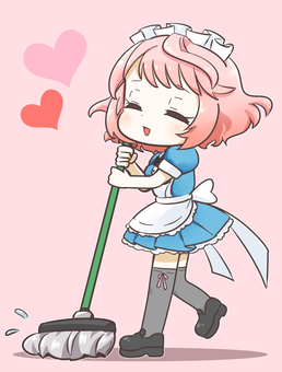 Cleaning pink hair maid mop 1