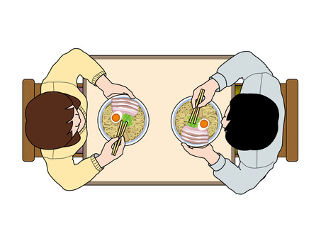 Meals (20) Male and female to eat ramen at the table