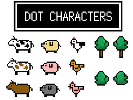 Dot Picture Set Livestock Animal (Cow, Pig and Chicken)