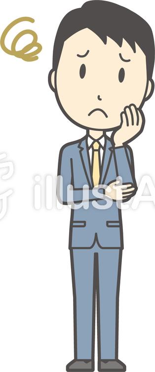 スーツ男性ネイビー-198-全身のイラスト