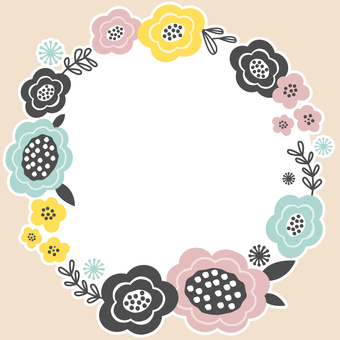 Northern European flower round frame