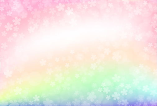 Rainbow cherry blossom background