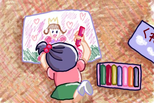 お絵描きをする子供