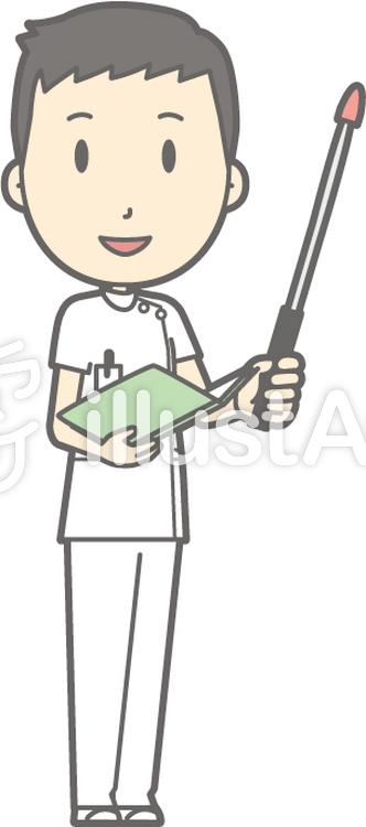 男性看護師-指示棒1右斜め-全身のイラスト