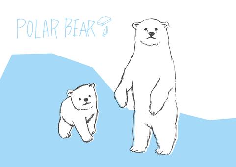 Loosely polar bear hand-drawn material