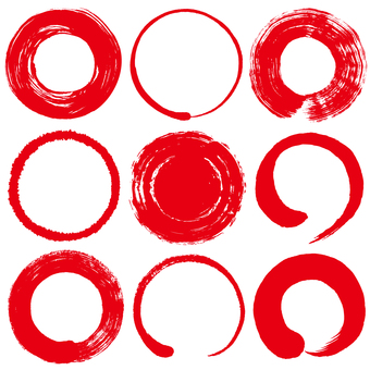 Calligraphy circle red writing brush illustration