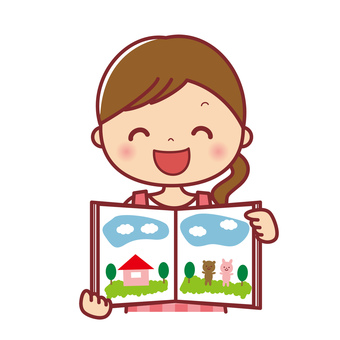 Female nursery teacher reading a picture book Bust up 2
