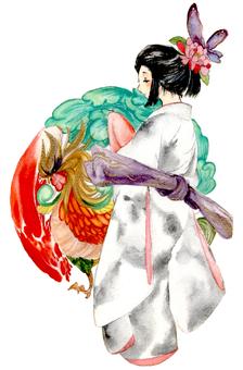 Phoenix and kimono girl
