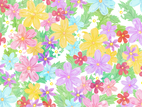 Hand drawn flowers and leaves wallpaper