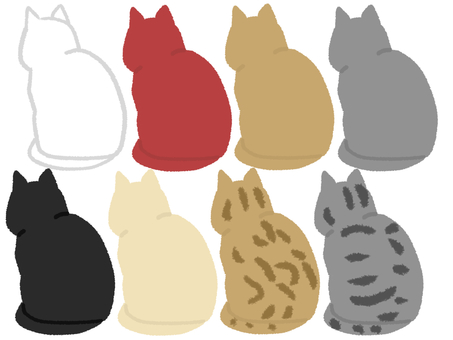 Rear view of various cats