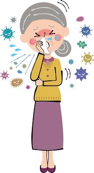 Cough cold granny flu rhinitis whole body