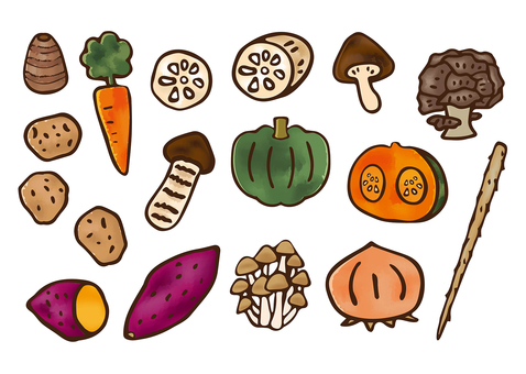 Autumn vegetables and mushrooms
